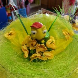 Ballagási csokor zöld békával