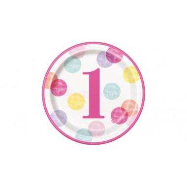 Pink pöttyös 1. szülinap tányér, 23 cm - 8db