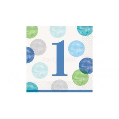 Kék pöttyös szalvéta 1. születésnapra, 16 db