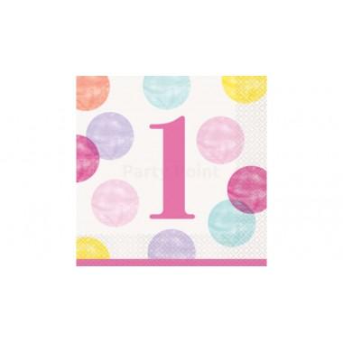 Pink pöttyös szalvéta 1. születésnapra, 16 db