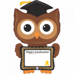 Ballagásra fóliás lufi baglyos Happy Graduation felirattal