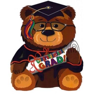 Ballagásra fóliás lufi macis Congratulations Grad! felirattal