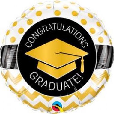 18 inch-es Graduate Arany Diplomaosztó Kalap Mintás Ballagási Fólia Léggömb