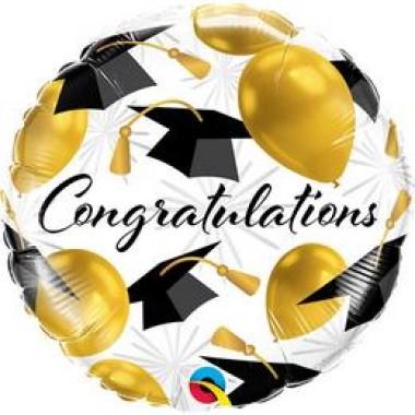 18 inch-es  Gratulálok Arany Léggömb és Diplomakalap Mintás Ballagási Fólia Lufi