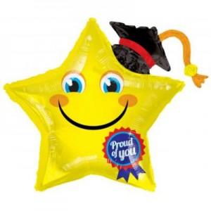 Ballagási fóliás lufi csillag smile