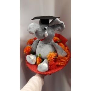 Virágcsokor elefántos plüssel