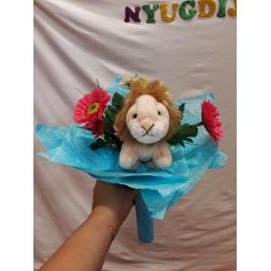 Virágcsokor oroszlán plüssel
