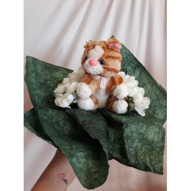 Virágcsokor cica plüssel