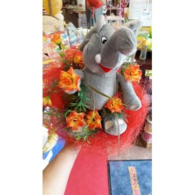 Ballagási csokor szürke elefánttal, szalaggal