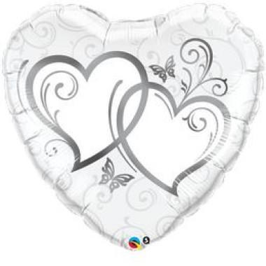 36 inch-es  Silver Esküvői Szív Fólia Lufi