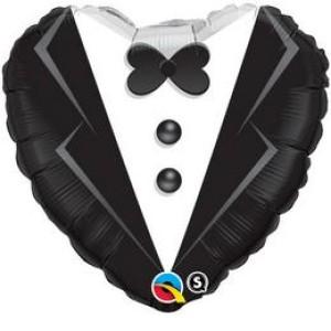 18 inch-es Wedding Tuxedo Esküvői Szív Fólia Lufi