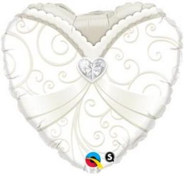 18 inch-es  Esküvői Szív Fólia Lufi