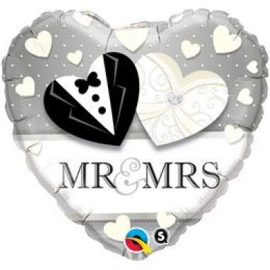 18 inch-es Mr. & Mrs. Esküvői Szív Fólia Lufi