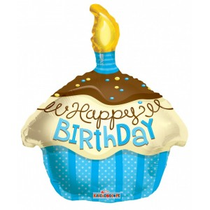 18 inch-es muffin kék fólia lufi