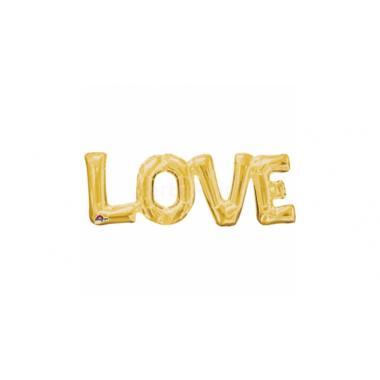 Arany színű fóliás lufi love felirattal