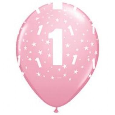 11 inch-es 1-es Pink Első Szülinapi Számos Lufi