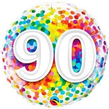 18 inch-es 90 Rainbow Confetti Szülinapi Héliumos Fólia Lufi