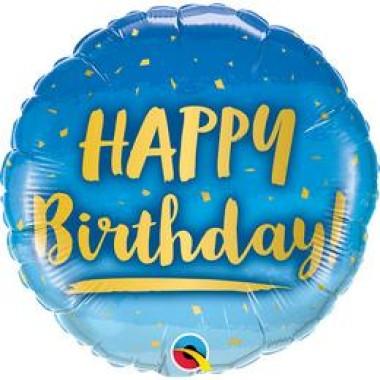 18 inch-es Birthday Gold and Blue Szülinapi Fólia Lufi