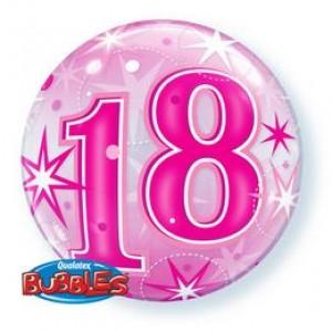 22 inch-es 18 Pink Starburst Sparkle Szülinapi Számos Bubble Lufi