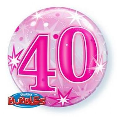 22 inch-es 40 Pink Starburst Sparkle Szülinapi Számos Bubble Lufi