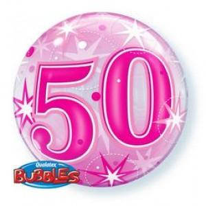 22 inch-es 50 Pink Starburst Sparkle Szülinapi Számos Bubble Lufi