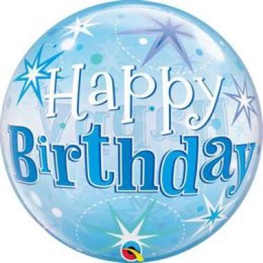 22 inch-es Birthday Blue Starburst Sparkle Szülinapi Bubbles Lufi