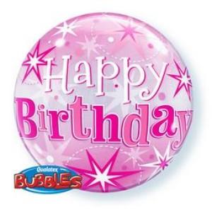 22 inch-es Birthday Pink Starburst Sparkle Szülinapi Bubbles Lufi