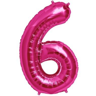 1 méteres pink fóliás 6-os számú lufi