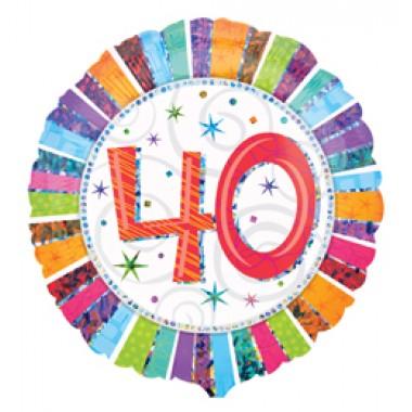 18 inch-es Radiant Birthday 40-es Születésnapi Fólia Lufi