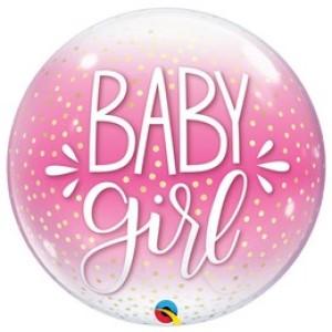 22 inch-es Baby Girl Pink & Confetti Dots Bubble Lufi Babaszületésre