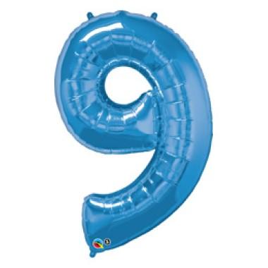 1 méteres kék fóliás 9-es számú lufi