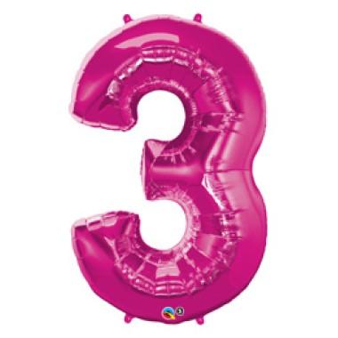 1 méteres pink fóliás 3-as számú lufi