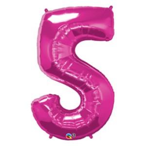 1 méteres pink fóliás 5-ös számú lufi