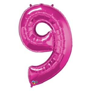 1 méteres pink fóliás 9-es számú lufi
