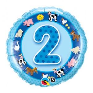 18 inch-es Házi Állatok Kék - Age 2-es Blue Farm Animals Szülinapi Számos Fólia Lufi