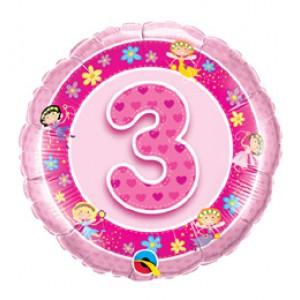 18 inch-es Rózsaszín Tündérek- Age 3-as Pink Fairies Szülinapi Számos Fólia Lufi