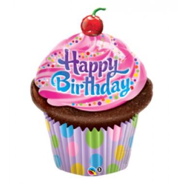 35 inch-es Muffin - Birthday Frosted Cupcake Szülinapi Fólia Lufi