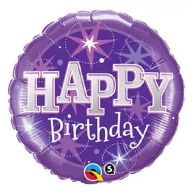 18 inch-es Birthday Purple Sparkle Szülinapi Fólia Lufi