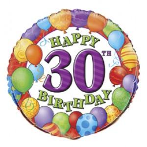 18 inch-es 30th Birthday Balloons - Léggömbös Szülinapi Számos Fólia Luf