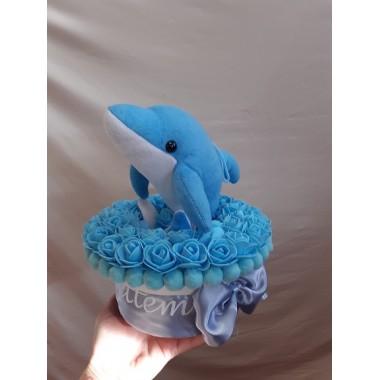 Megszülettem díszdoboz ugró delfinnel habrózsával