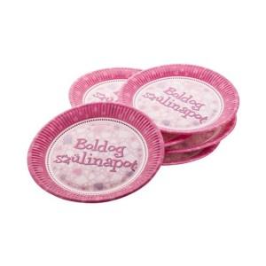 Boldog születésnapot tányér pink