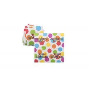 Pöttyös Boldog Születésnapot szalvéta 33x33 cm, 16db