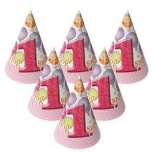 Boldog 1. Szülinapot! Léggömbös Rózsaszín Lányos Parti Csákó - 6 db-os
