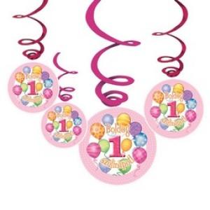 Boldog 1. Szülinapot! Léggömbös Rózsaszín Lányos Parti Függődekoráció - 6 db-os