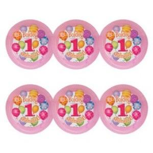 Boldog 1. Szülinapot! Léggömbös Rózsaszín Lányos Parti Tányér, 23 cm, 6 db-os