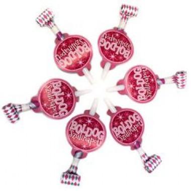 Boldog Szülinapot Rózsaszín Parti Ördögnyelv - 6 db-os