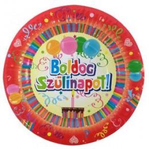 Boldog születésnapot tányér színes