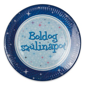 Boldog születésnapot tányér kék