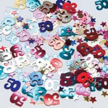 50-es Számos és Csillagos Vegyes Színű Szülinapi Parti Konfetti - 12 gramm