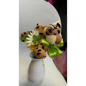 Plüss állatos-virág csokor